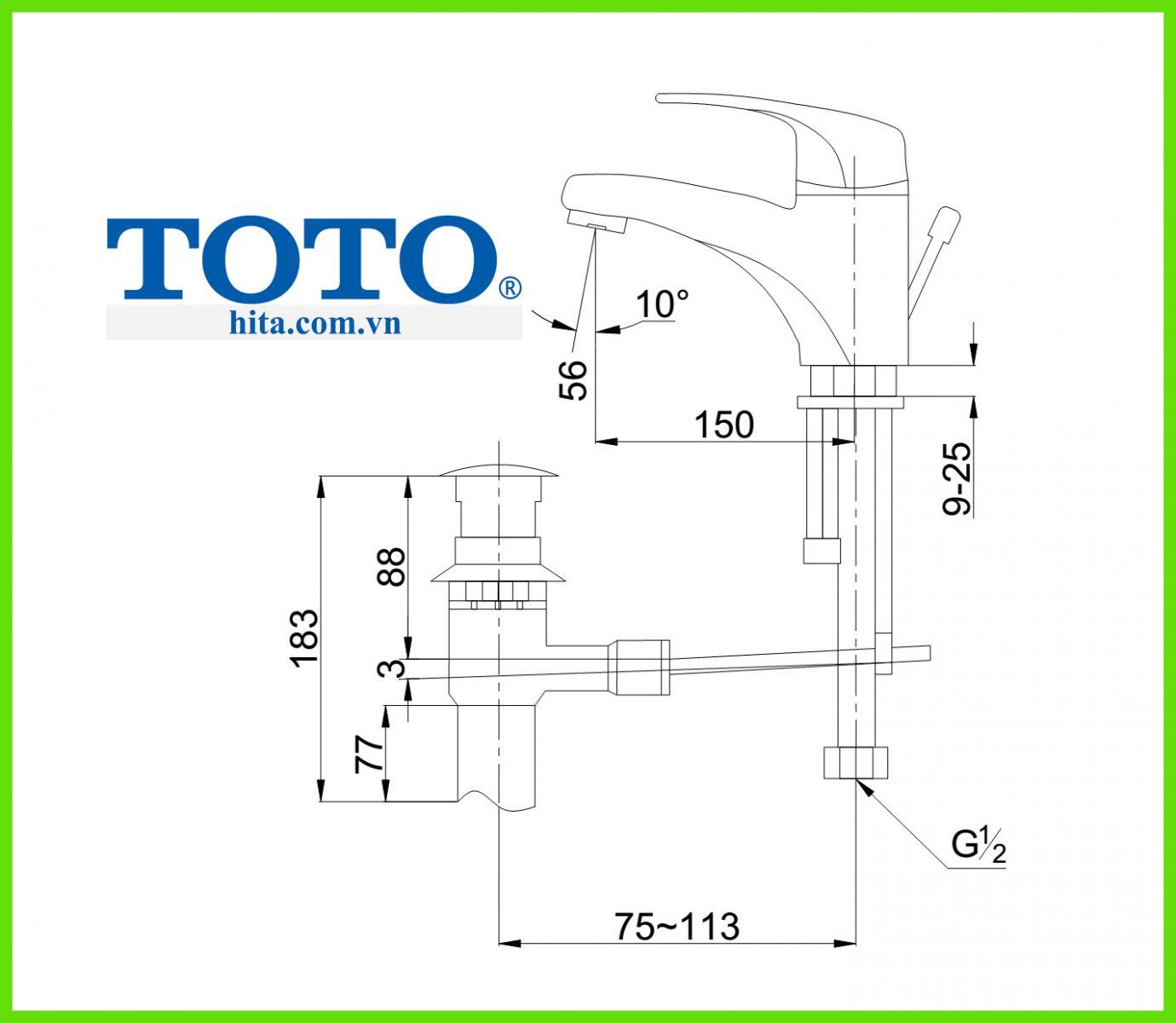 Vòi chậu rửa mặt Toto TS561A bản vẽ
