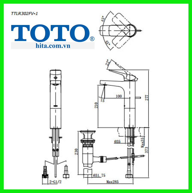 Vòi chậu rửa mặt Toto TTLR302FV-1 bản vẽ chi tiết