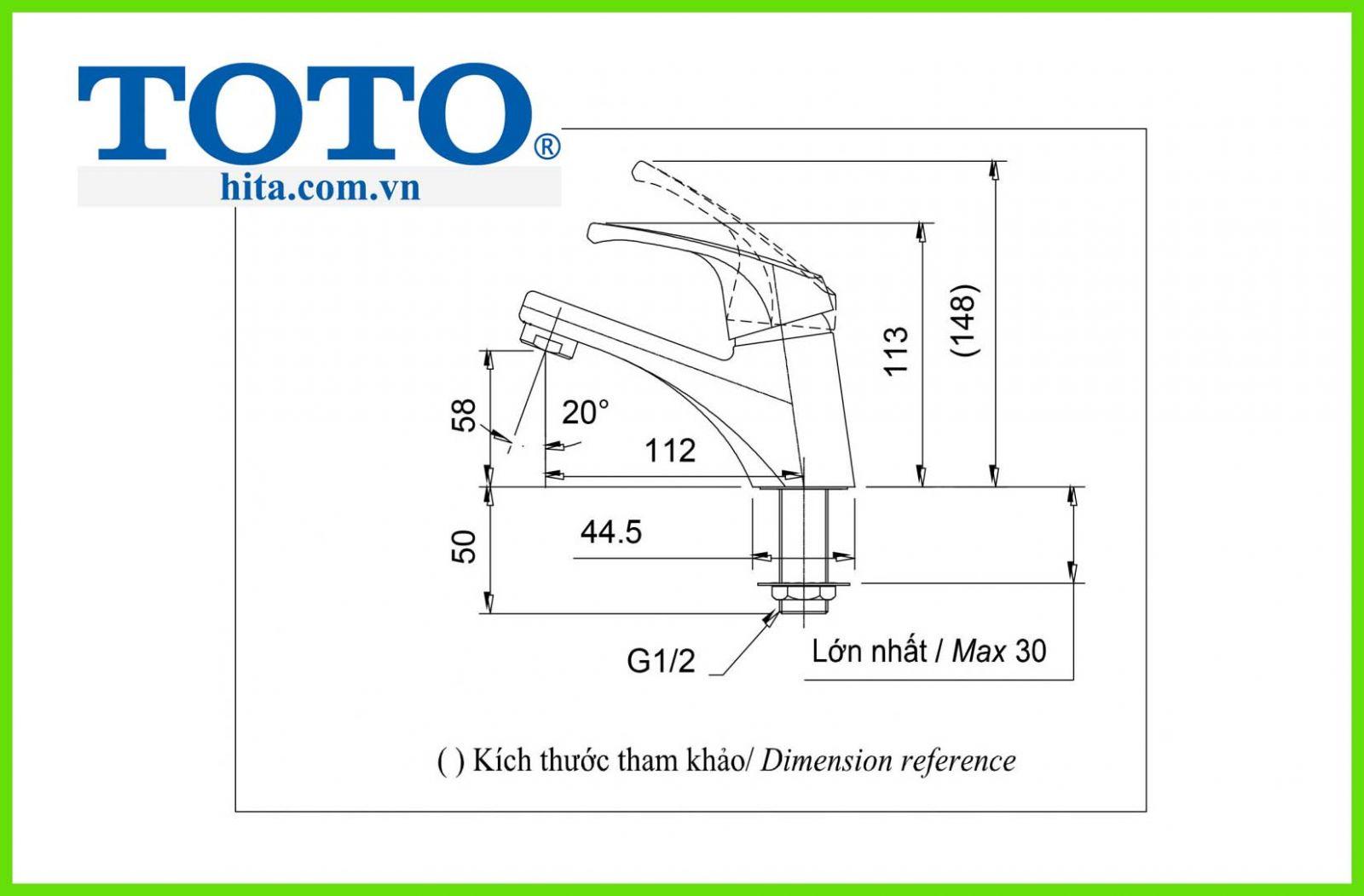 Vòi chậu rửa mặt Toto TX109LD bản  vẽ