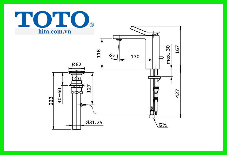 Vòi chậu rửa mặt Toto TX115LQBR bản vẽ chi tiết
