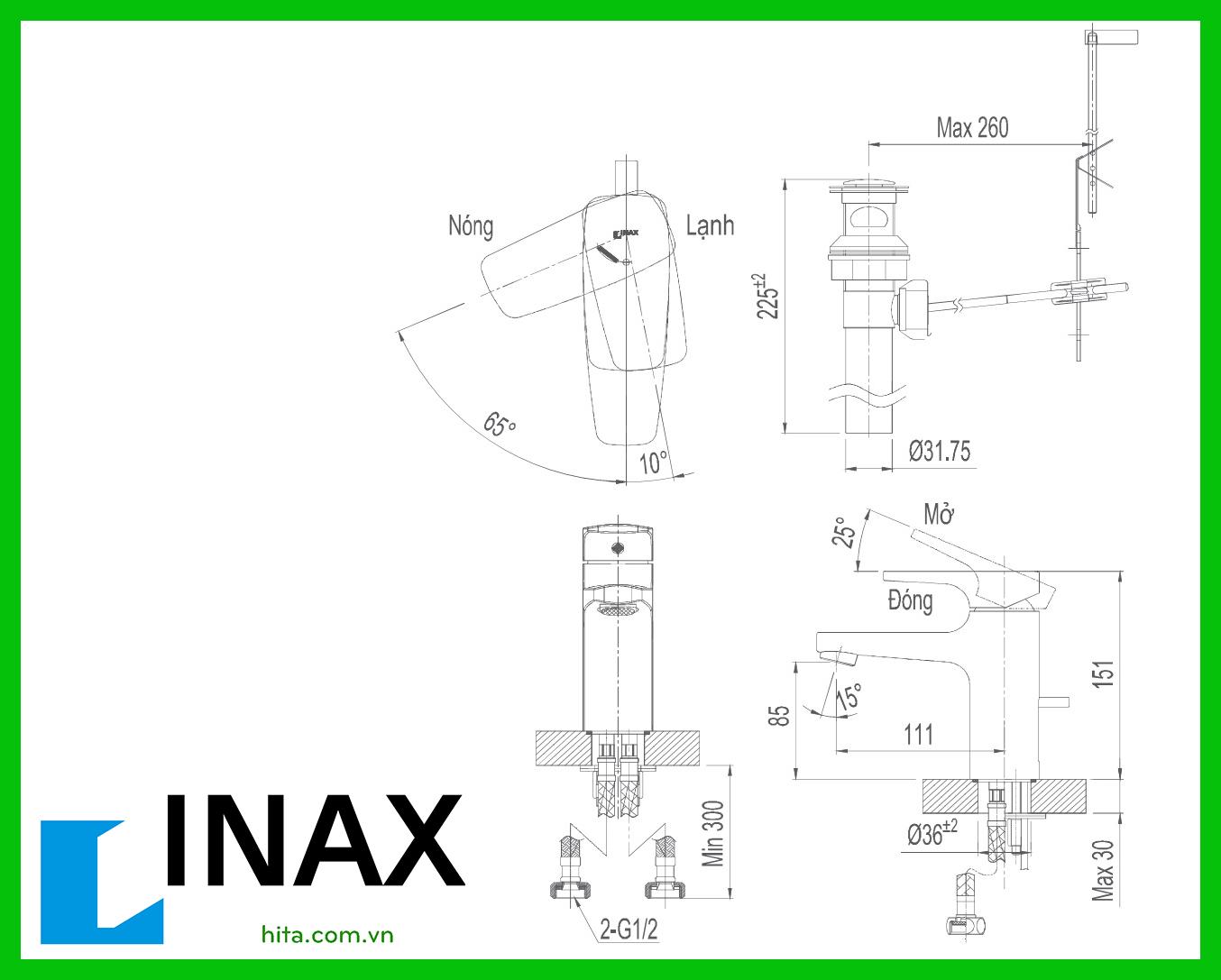 Vòi chậu rửa mặt lavabo nóng lạnh Inax LFV-5002S