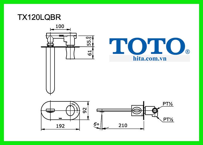 Vòi chậu rửa tay Toto TX120LQBR bản vẽ