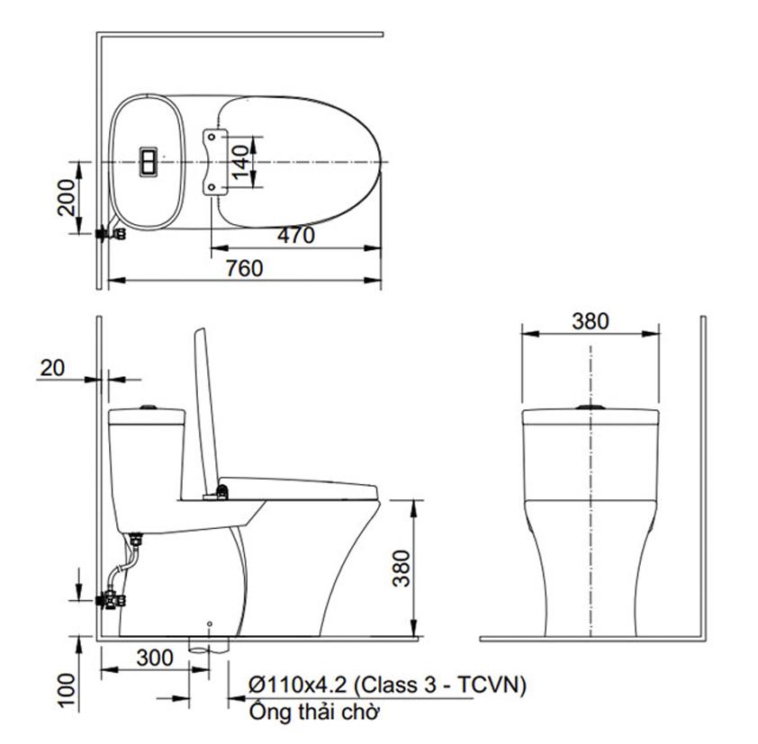 Bản vẽ kỹ thuật mẫubồn cầu 1 khối Inax AC-959VAN