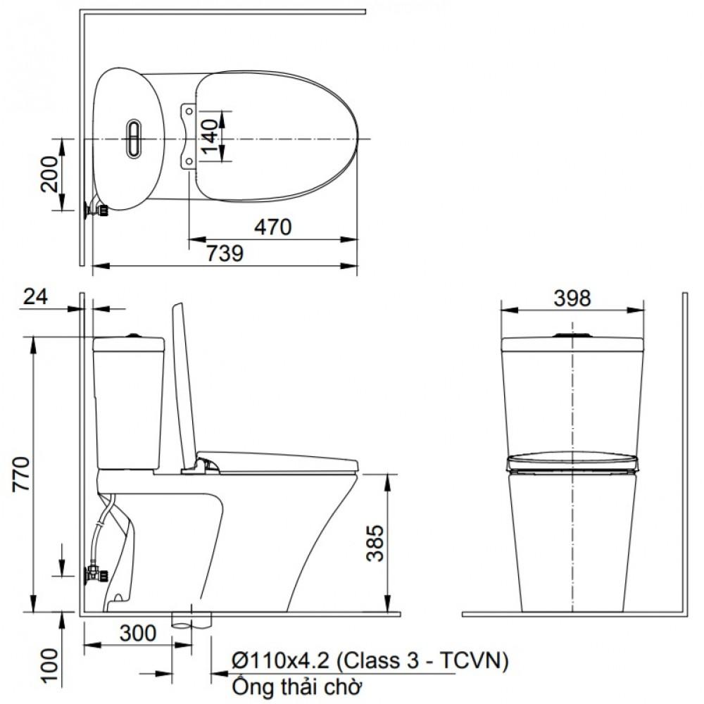 Bồn cầu 2 khối Inax AC-700VAN xí bệt chính hãng giá cực tốt