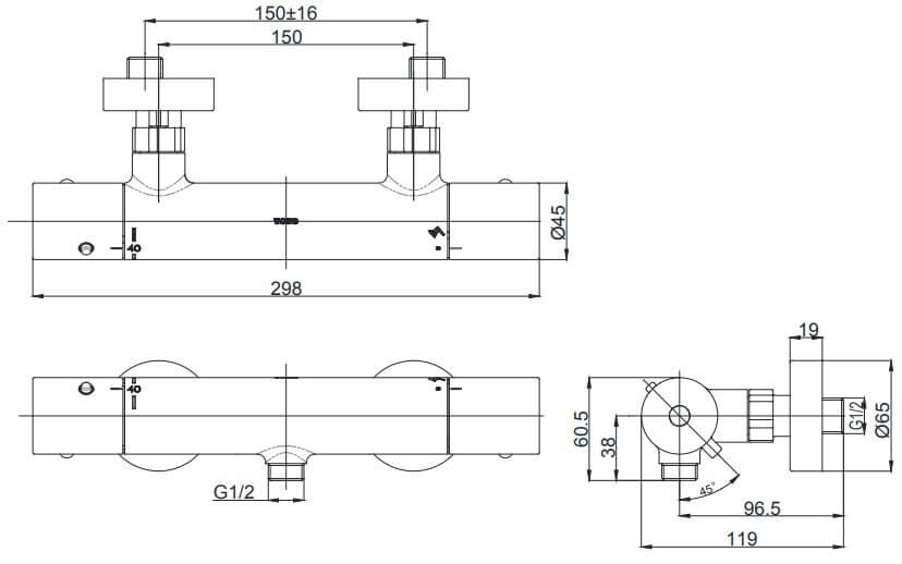Bản vẽ của Sen tắm nhiệt độ TOTO TBV01401B