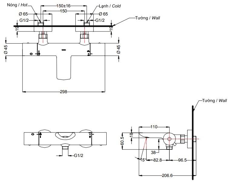 bản vẽ Sen tắm nhiệt độ TOTO TBV01402B