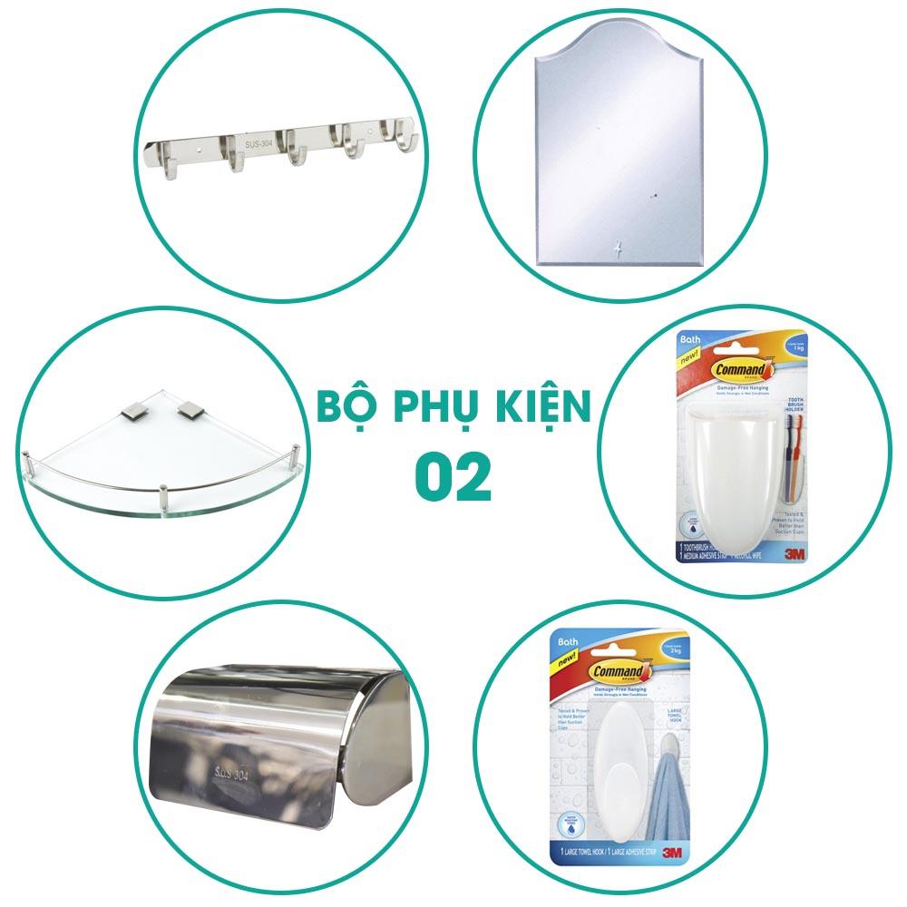 Bộ phụ kiện phòng tắm 6 món BPK002 giá cực sốc gồm những sản phẩm:Móc treo quần áo Hita 5 móc, Kệ kính góc Hita, Hộp giấy Outlet, Móc treo dán tường 3M siêu chắc, Kệ đựng bàn chải và kem đánh răng 3M đa năng, Gương Hita.