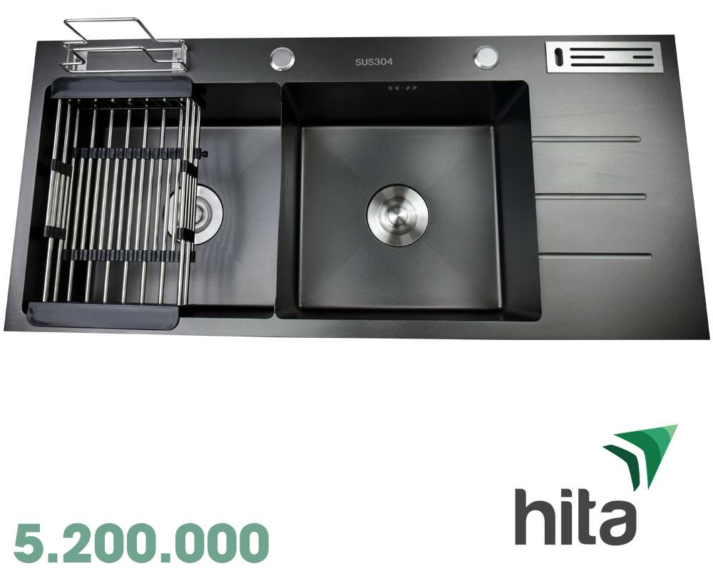 Chậu rửa chén sơn tĩnh điện Nano chống ồn loại lớn Hita HD10045SN
