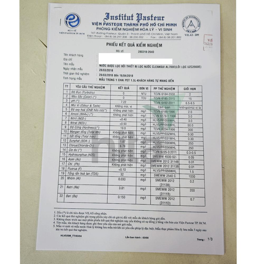 Chứng nhận chất lượng nước lọc Cleansui đánh giá từ viện Pastuer