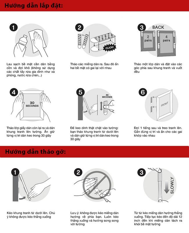 Hướng dẫn sử dụng miếng dán treo ảnh trên tường không cần đóng đinh Command 3M
