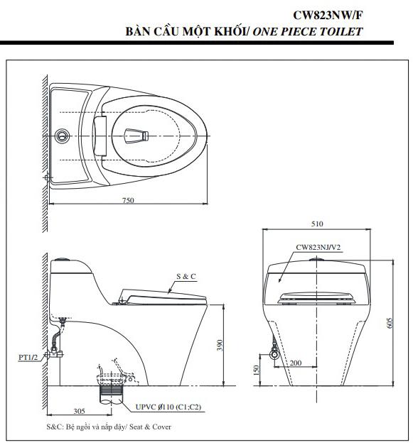 Kích thước bồn cầu Toto 1 khối CW823NW
