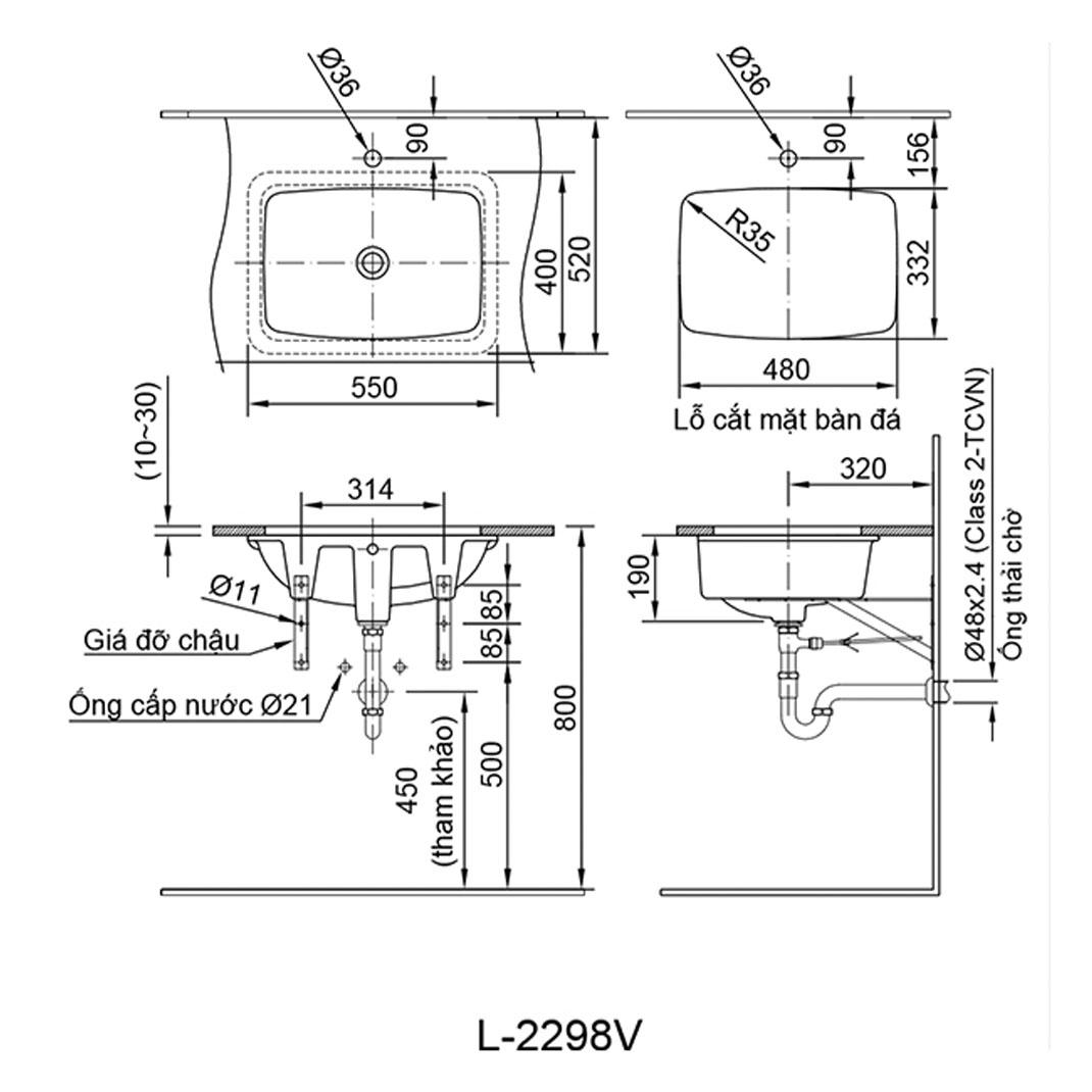 Chậu âm bàn Inax L-2298V - Bồn lavabo rửa mặt hình chữ nhật