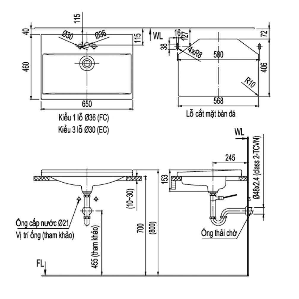 Lavabo Chậu rửa dương vành Inax L-2397V - Bồn rửa mặt hình chữ nhật