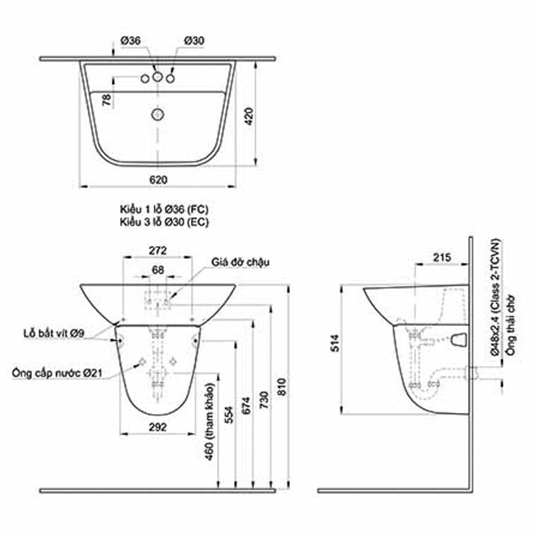 Lavabo treo tườngINAX GL-297V & L-297VC