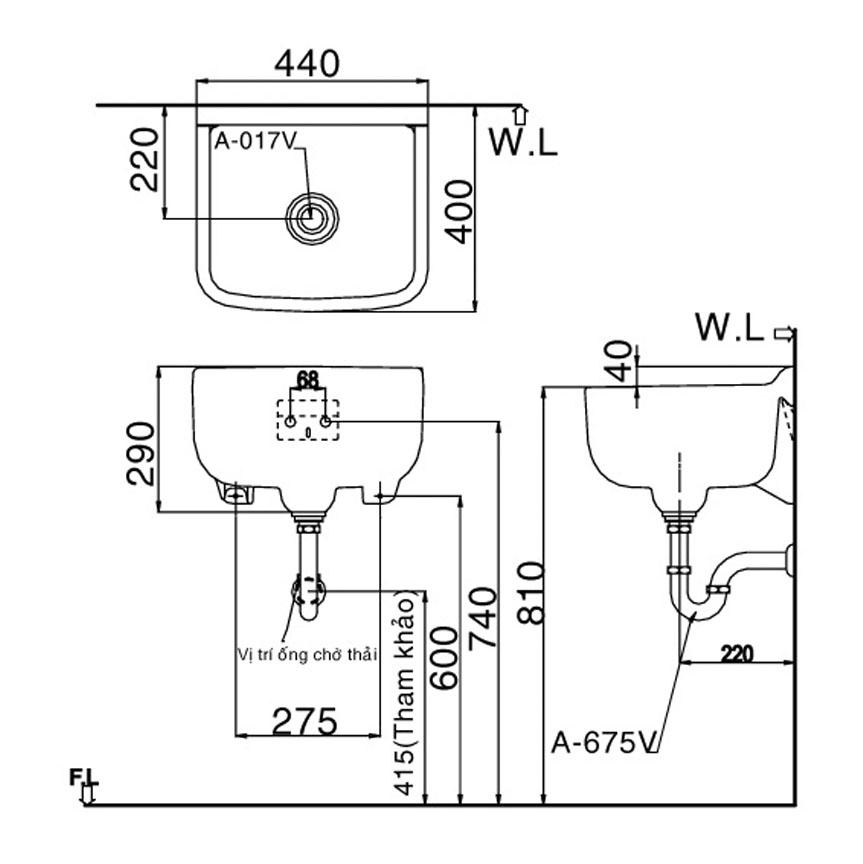 Lavabo treo tườngINAX S-17V hình vuông