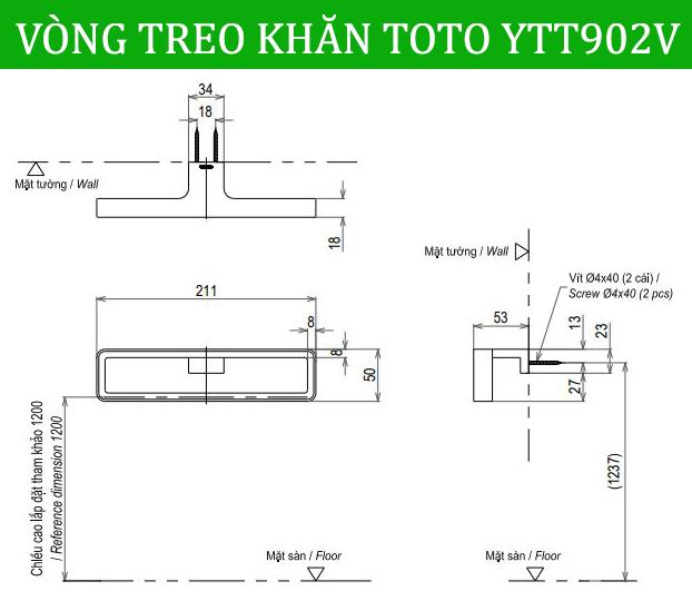 VÒNG TREO KHĂN TOTO YTT902V