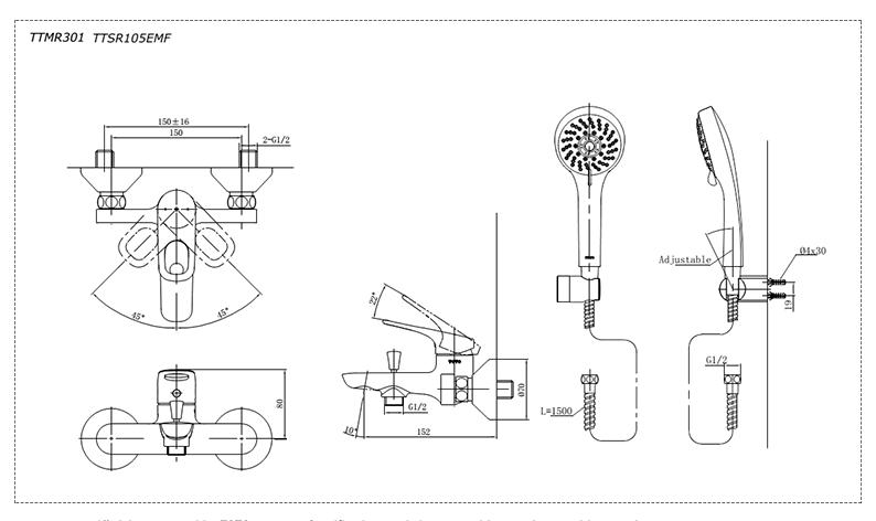 Thông số kĩ thuật vòi sen TOTO TTMR301/TTSR105EMF