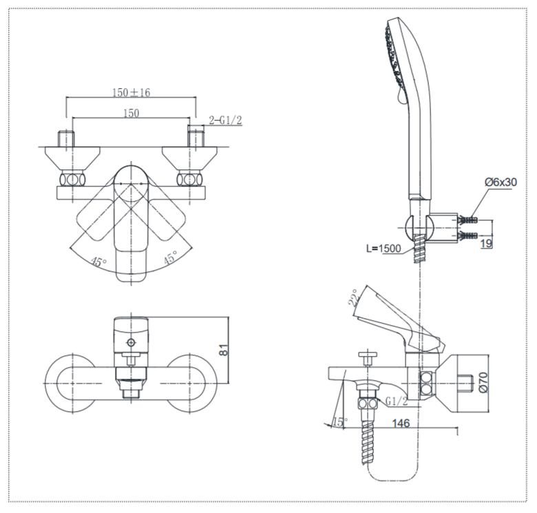 Thông số kĩ thuật bộ vòi sen toto TTMR302/TTSR106EMF