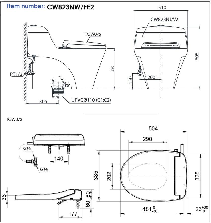 thông số kĩ thuật bồn cầu 1 khối toto CW823NW/FE2