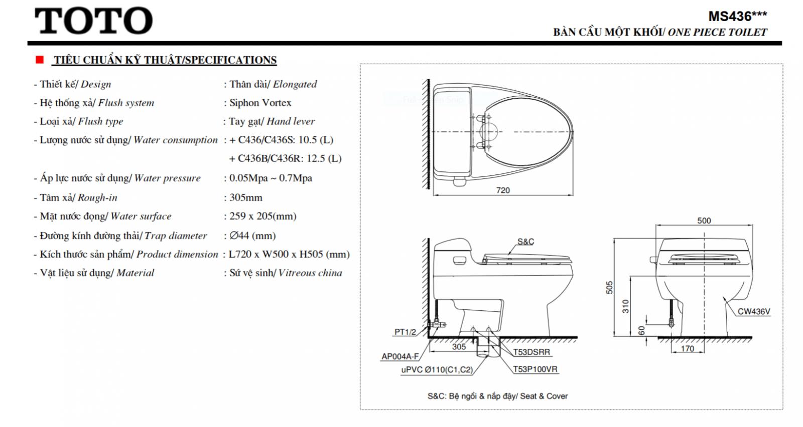 Thông số kĩ thuật bồn cầu 1 khối TOTO MS436