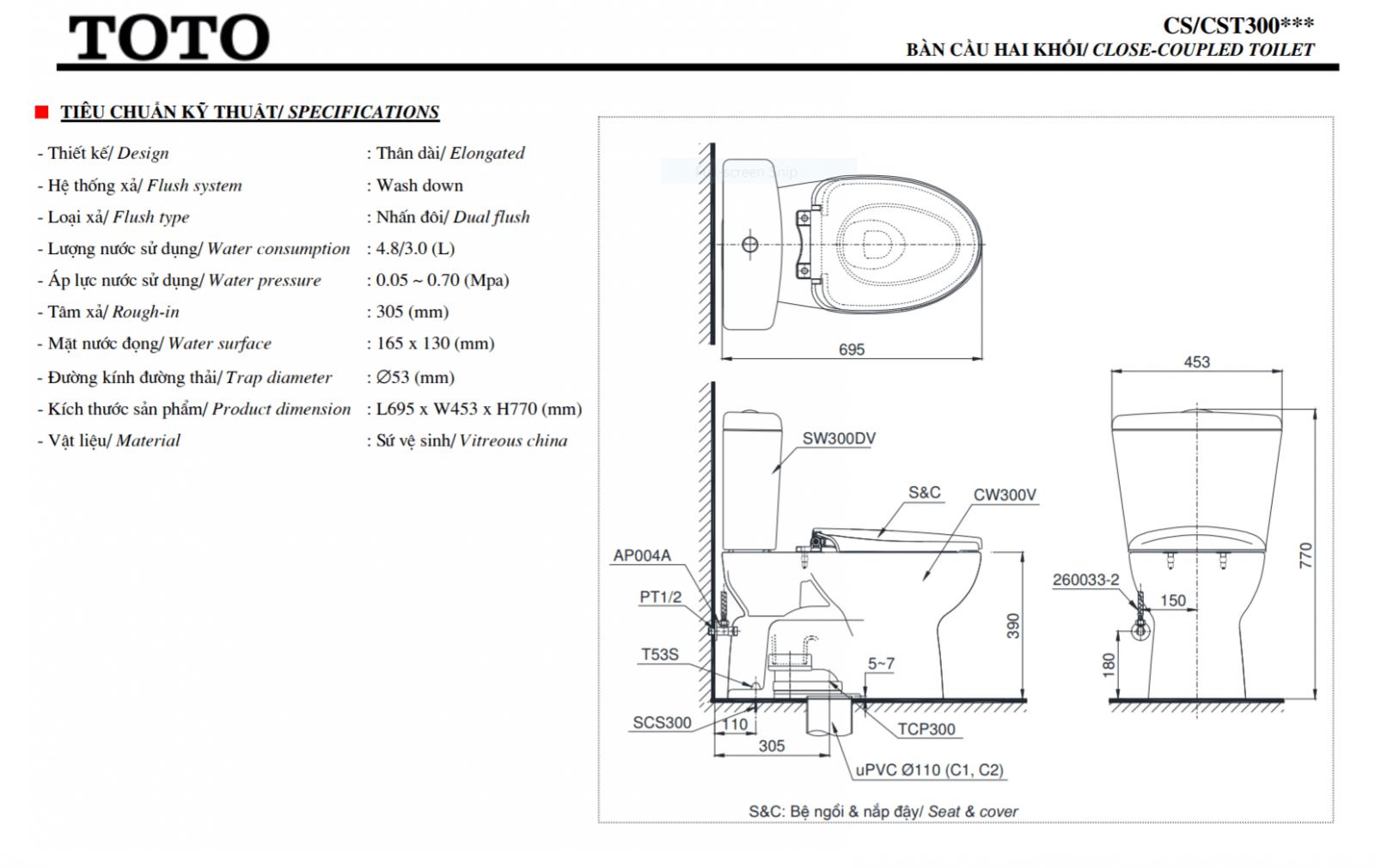 thông số kĩ thuật bồn cầu toto 2 khối CS300DT3Y1