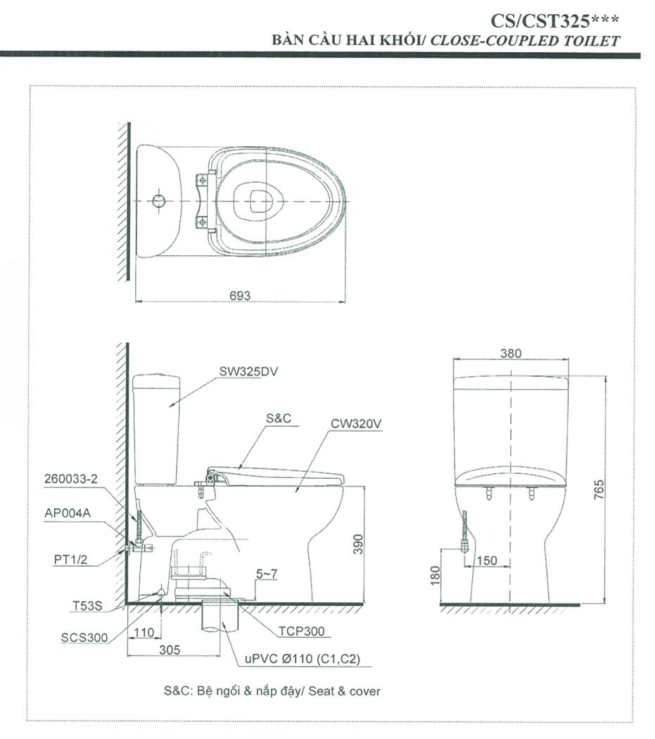 thông số kĩ thuật bồn cầu 2 khối toto CS325DRT3