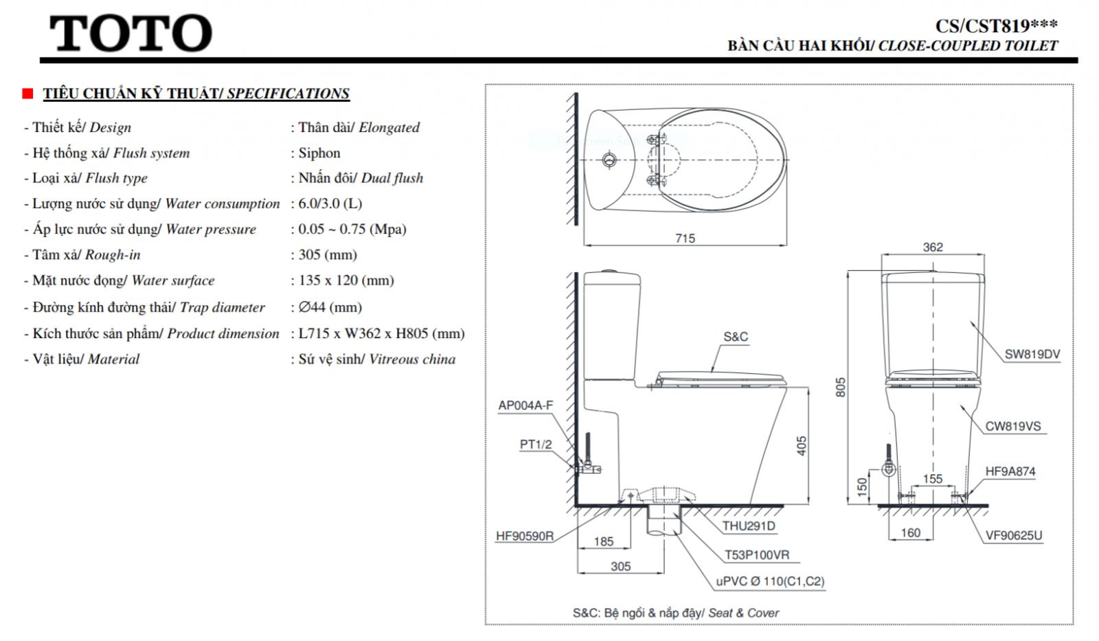 thông số kĩ thuật bồn cầu 2 khối toto chất lượng cao CS819
