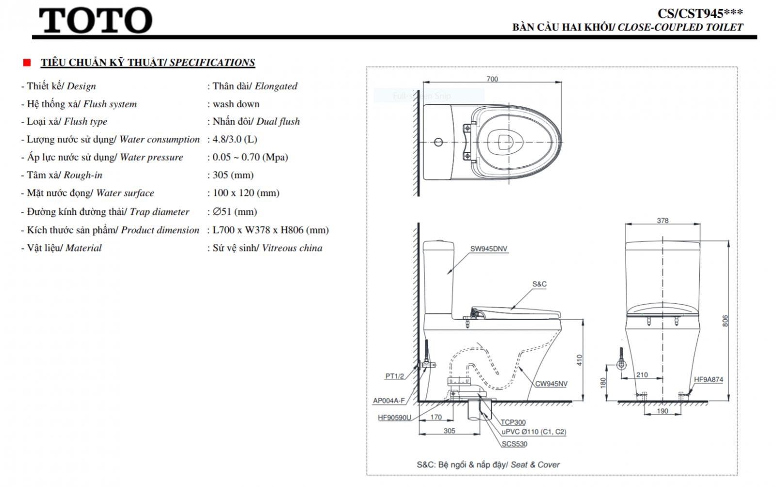 thông số kĩ thuật bồn cầu toto 2 khối CS945DNT8