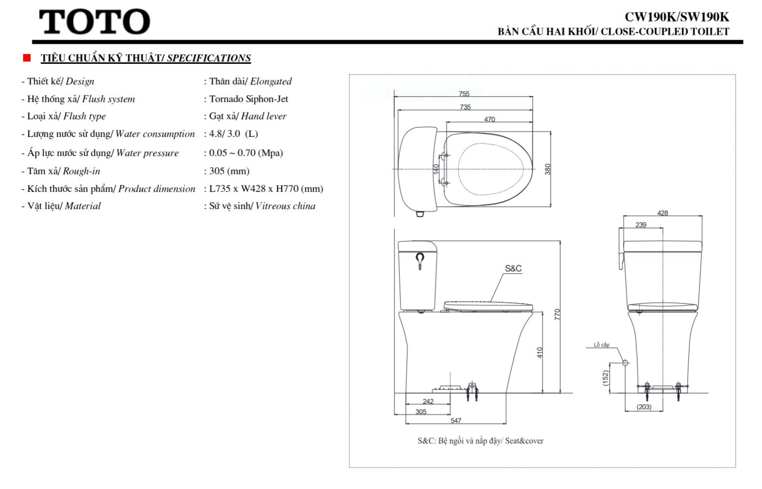 thông số kĩ thuật bồn cầu 2 khối toto CW190K/SW190K