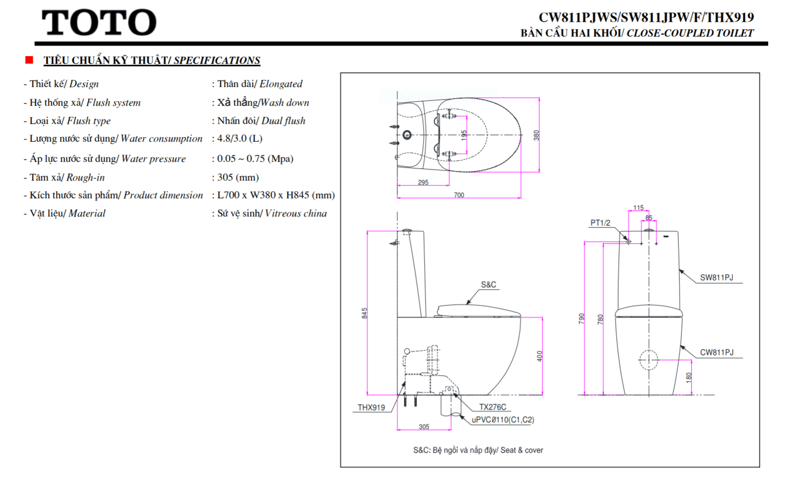 thông số kĩ thuật bồn cầu 2 khối toto CW811PJWS/SW811JPW/F/THX919