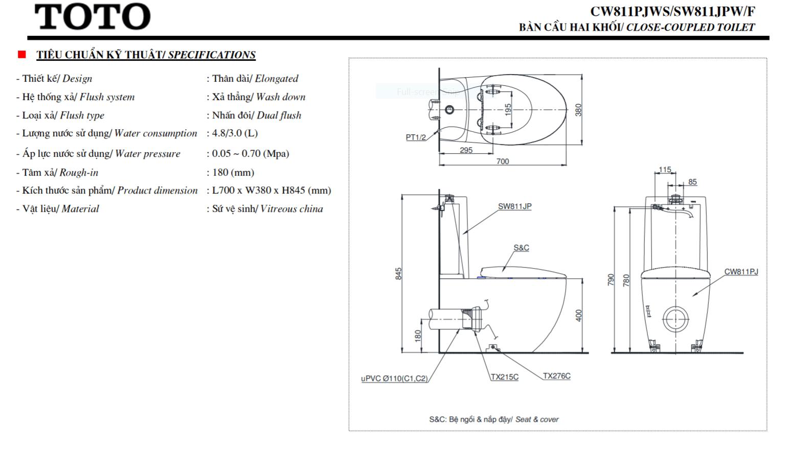 thông số kĩ thuật bồn cầu 2 khối toto CW811PJWS/SW811JPW/F/TX215C