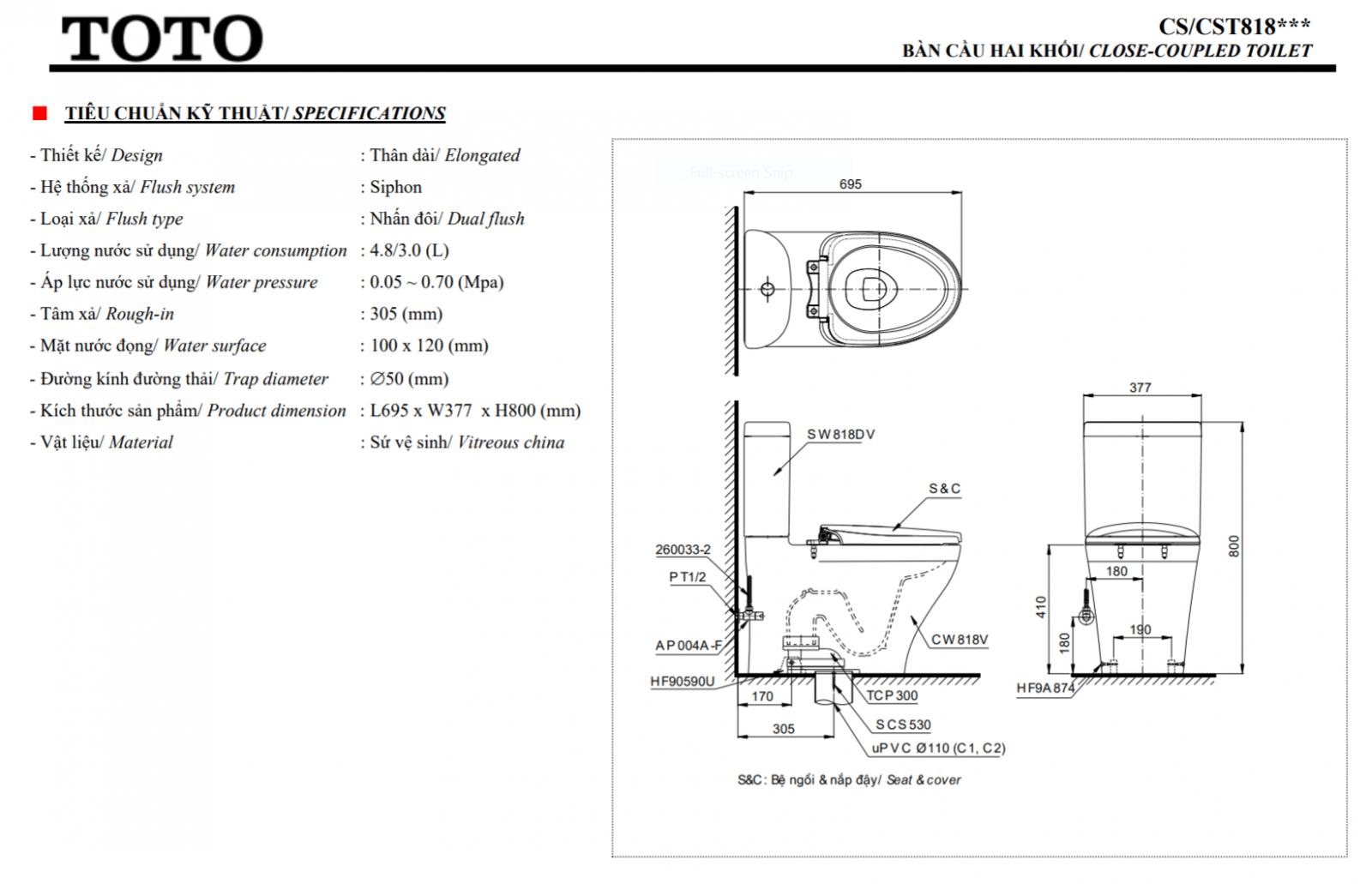 thông số kĩ thuật bồn cầu 2 khối điện tử toto CS818