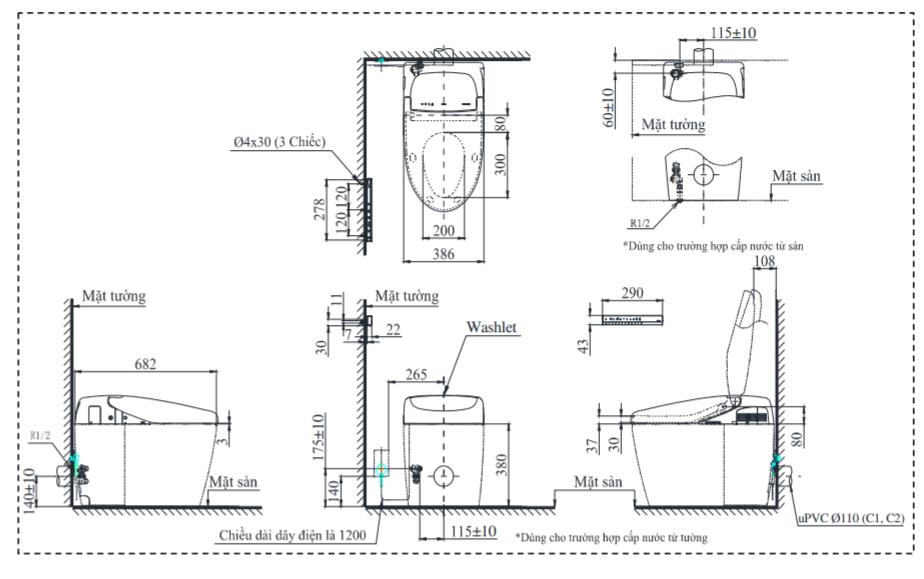 Thông số kĩ thuật bồn cầu điện tử CS989PVT/TCF9768WZ