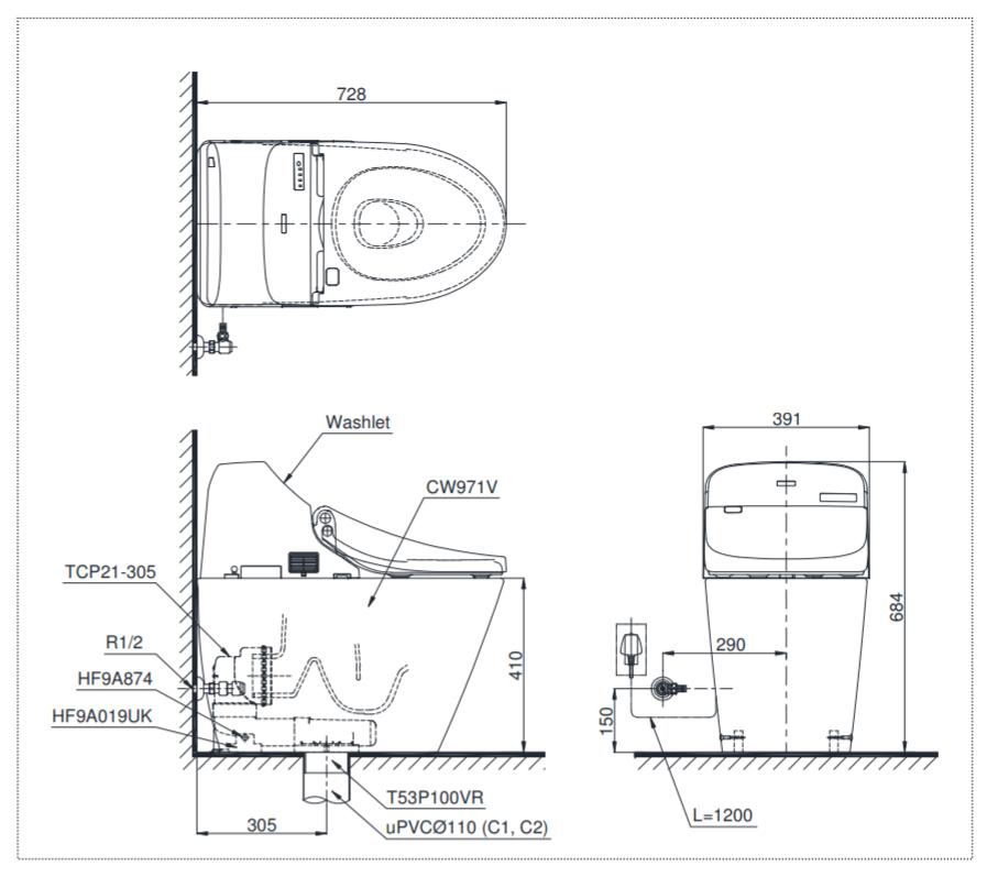 thông số kĩ thuật bồn cầu điện tử toto CW971BA305/TCF9433A