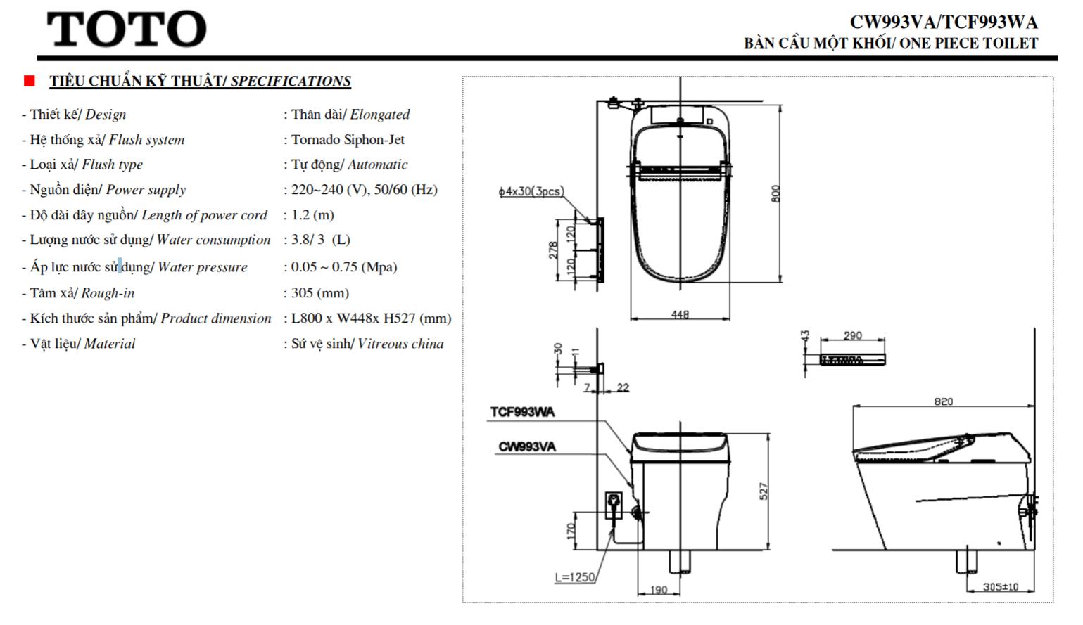 thông số kĩ thuật bồn cầu điện tử toto CW993VA/TCF993WA