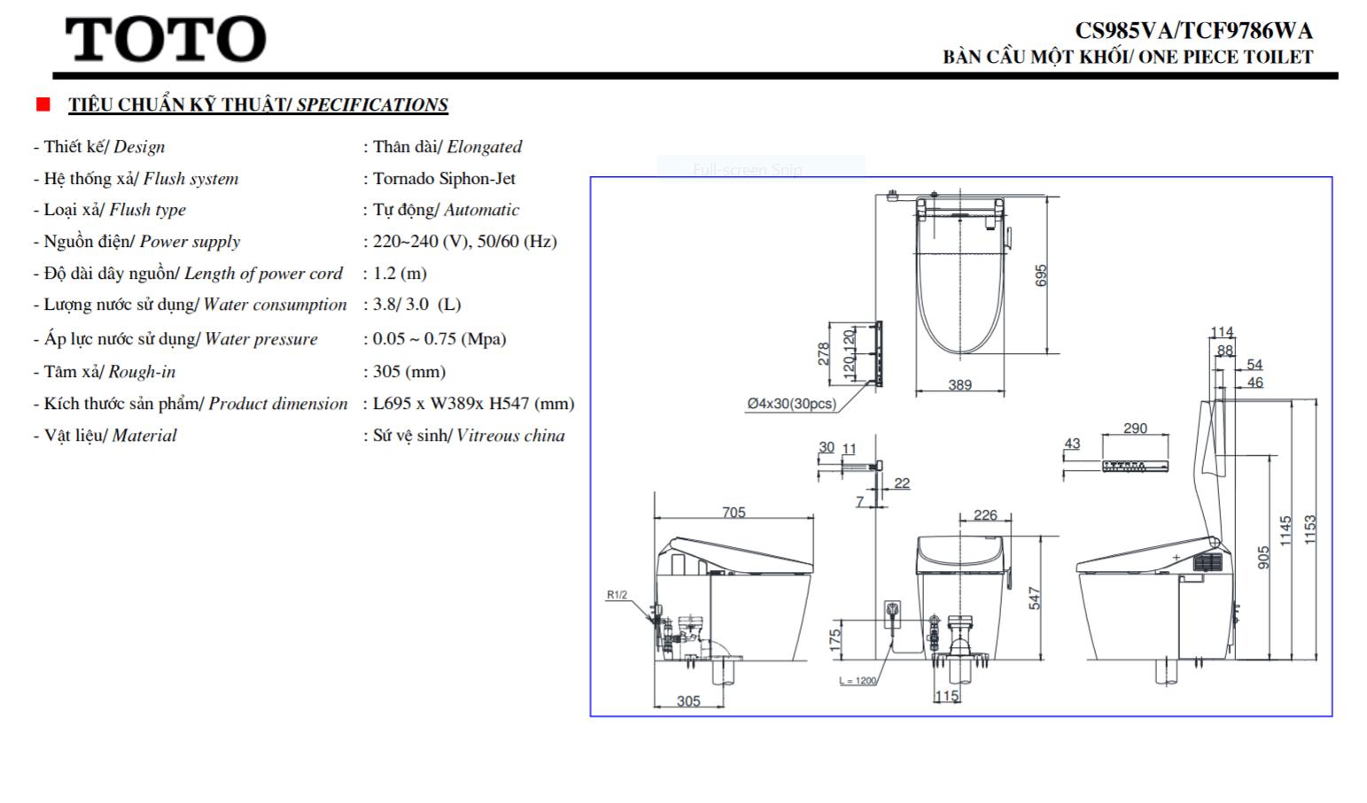 thông số kĩ thuật bồn cầu toto neorest CS985VA/TCF9786WA