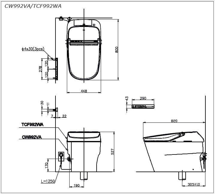 thông số kĩ thuật bồn cầu toto CW992VA/TCF992WA