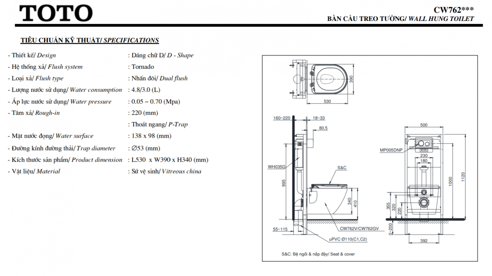 Thông số kĩ thuật bồn cầu treo tường toto CW762