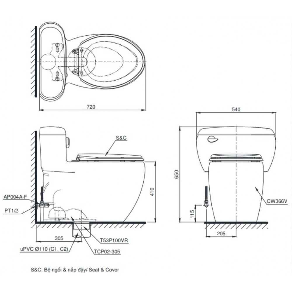 thông số kĩ thuật bồn cầu 1 khối toto MS366