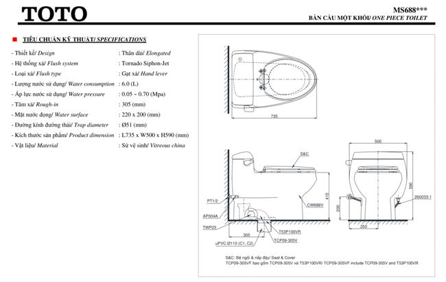 thông số kĩ thuật bồn cầu toto điện tử MS688W11