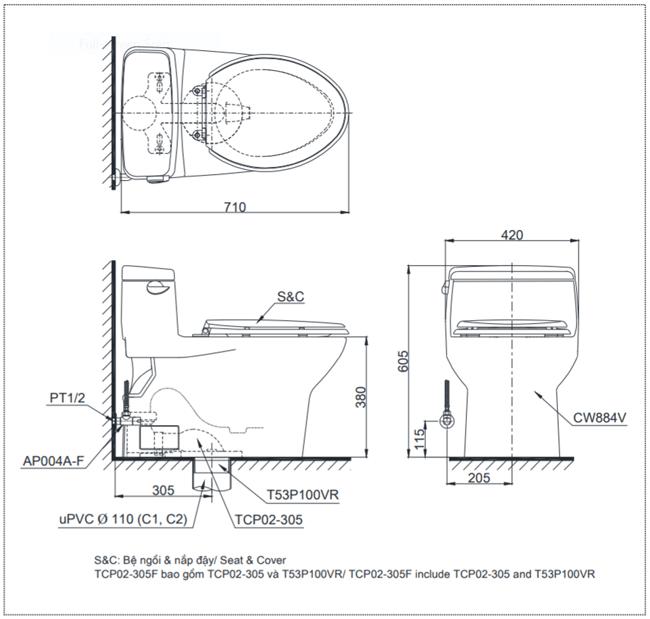 thông số kĩ thuật bồn cầu toto MS884