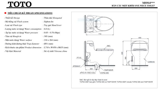 thông số kĩ thuật bồn cầu toto MS914