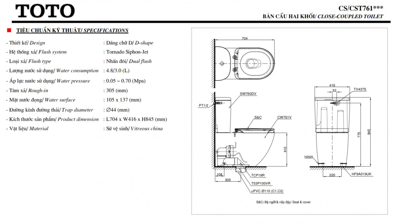 Thông số kĩ thuật bồn cầu 2 khối toto washlet CS761