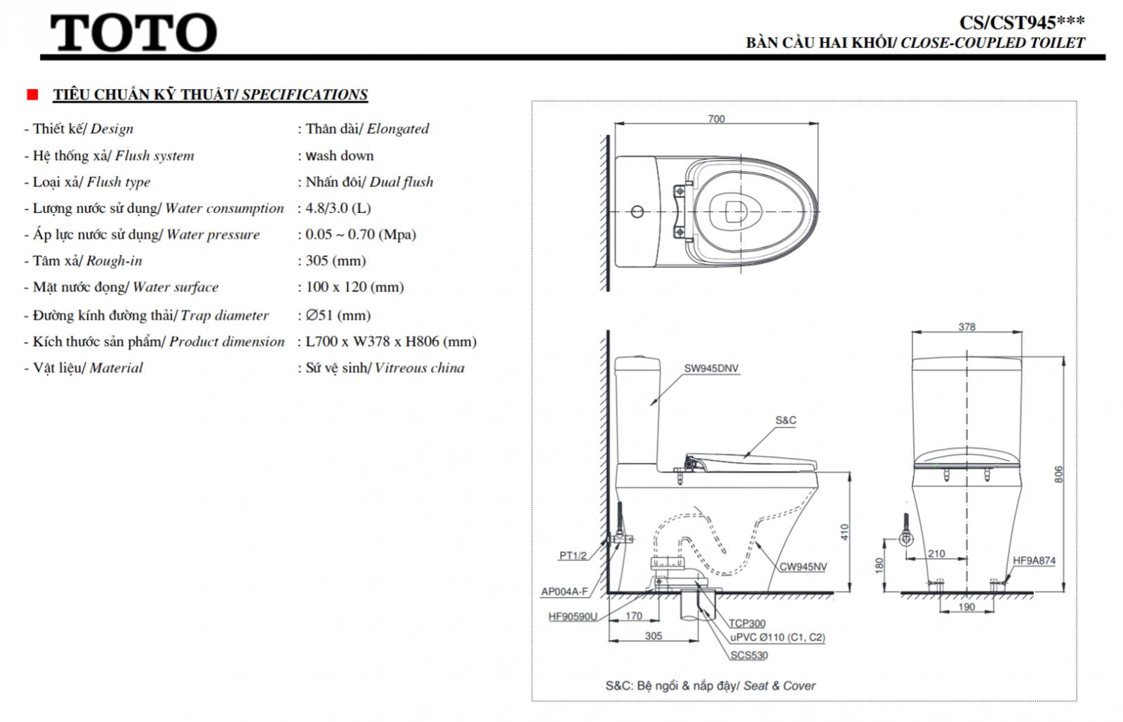 Thông số kĩ thuật bồn cầu washlet toto CS945DNW6