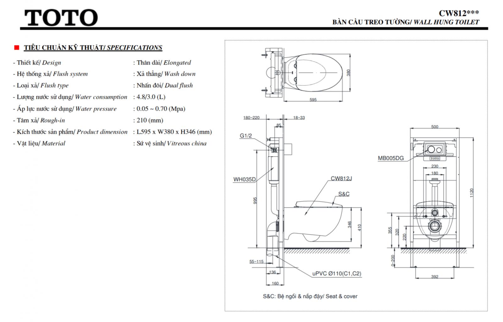 thông số kĩ thuật bồn cầu toto treo tường CW812JWS/TC811S5