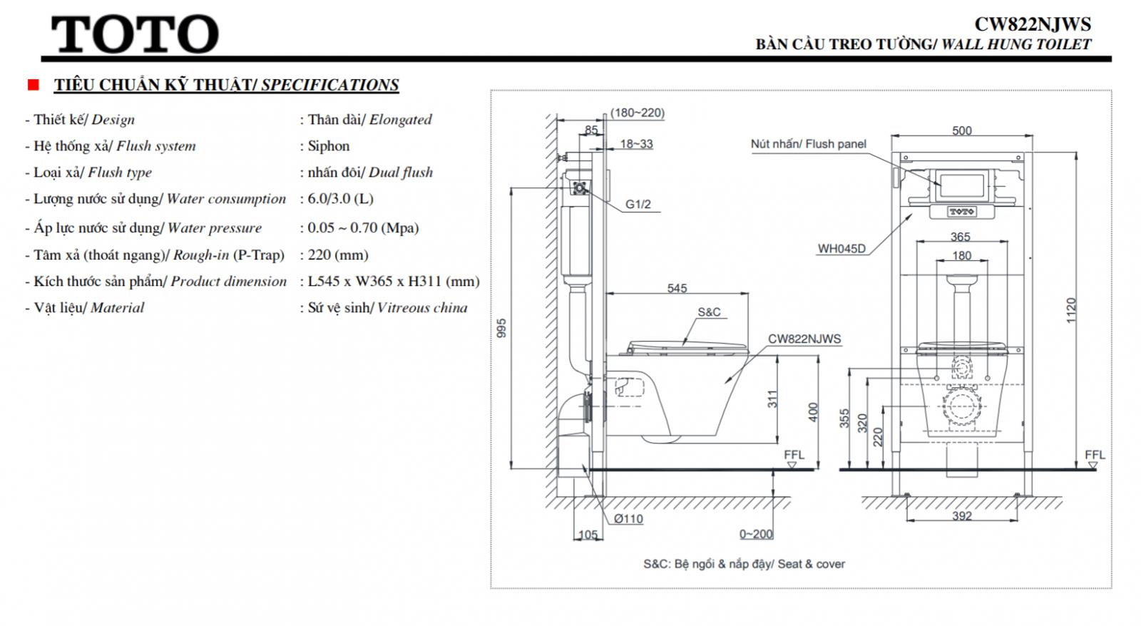 thông số kĩ thuật bồn cầu treo tường toto CW822NJWS/TC393VS
