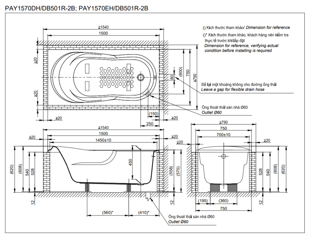 Thông số kĩ thuật bồn tắm TOTO PAY1570DH