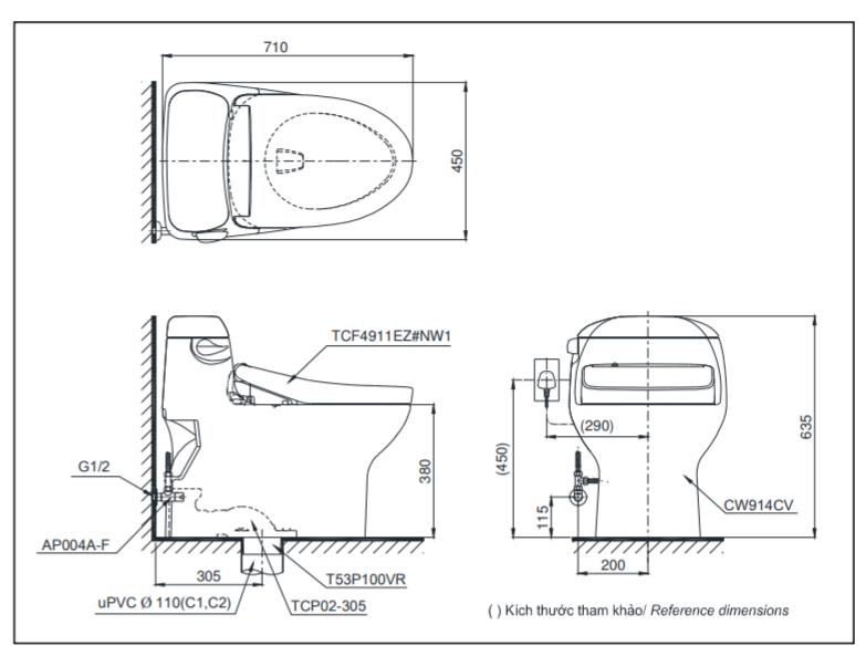 Thông số kĩ thuật bồn cầu 1 khối MS914CW12