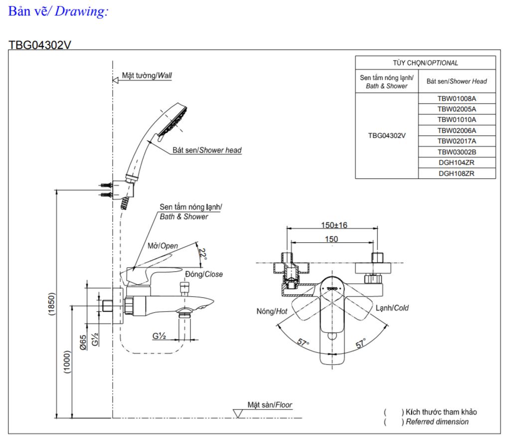 thông số kĩ thuật củ sen tắm toto TBG04302V