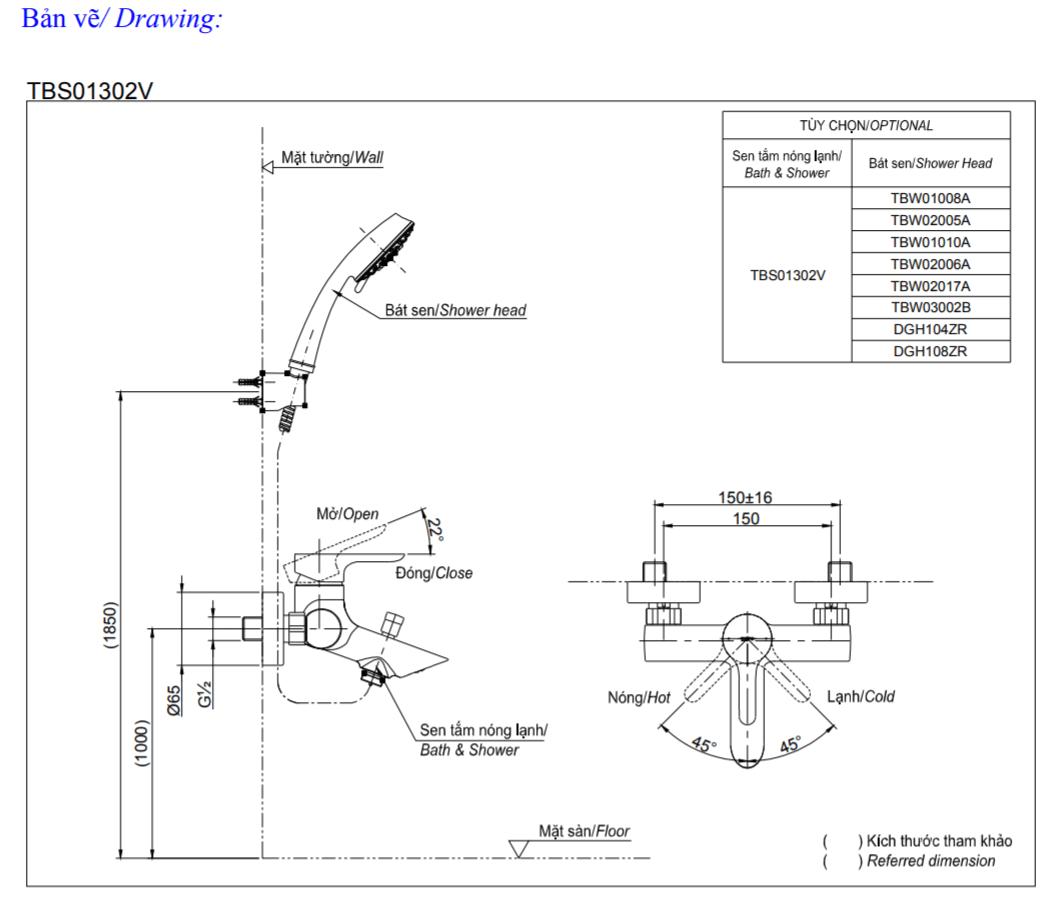Thông số kĩ thuật củ sen TOTO TBS01302V